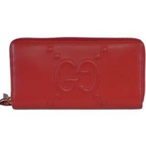 NWT Gucci Red Leather Apollo Embossed Wallet 45339